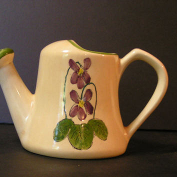 Vintage Hand Painted Watering Can Vase made in Brazil - Super cute and kitchy - French country farmhouse shabby chic accent