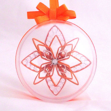 large snowflake decoration in a clear ball, custom christmas snowflake, holiday ornament, winter decoration, white and orange snowflake