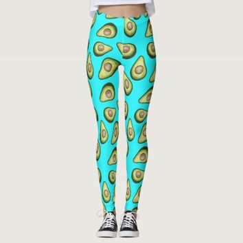 Avocado Pattern - Teal Leggings