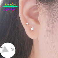 2015 New Brief Contemporary Minimalist Gold Silver Black Plated Alloy Big & Small Triangle Asymmetric Stud Earrings For Women