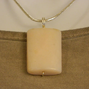 50ct. Light Pink Stone, Semi Precious, Agate, Pendant, Necklace, Rectangle, Natural Stone, 118-15