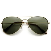 Limited Dead Stock Glass Lens Classic Metal Military Aviator Sunglasses 1042