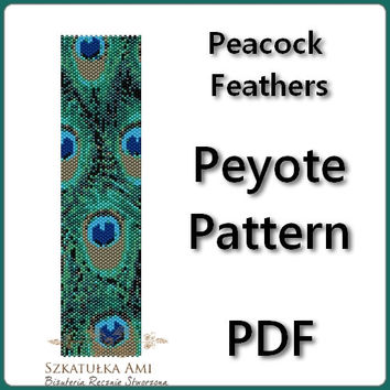 Peacock  Feathers Peyote Pattern Beading - Tutorial PDF - instant download