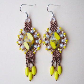 Bright micro macrame earrings - Yellow Nutmeg Rustic Boho Unique Beadwork Picasso beads