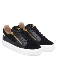 Giuseppe Zanotti Gz Frankie Black Suede Low-top Sneaker With Calfskin Leather Insert - Best Deal Online