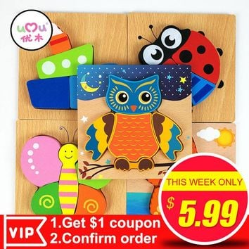 Baby Montessori Educational Learning Wooden Toys Owl Butterfly Cartoon Cartoon Animal Puzzles Kids Toys for Children UQ3089H