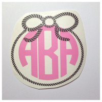 Cowgirl Monogram Decal - Rope With Bow - Country Rodeo Sticker - Custom Decal For Car, Laptop, Planner - Tons of Color & Monogram Choices