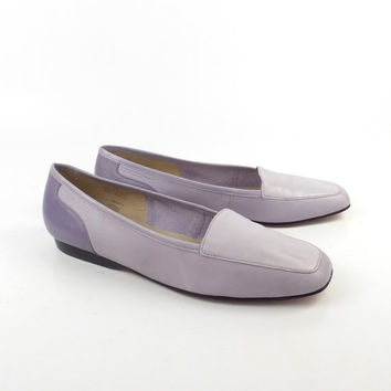 Leather Flats Shoes Vintage 1980s Enzo Angiolini Purple Leather Women's size 7 1/2