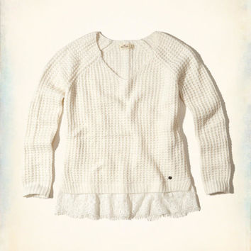 Girls Lace Hem Sweater | Girls Clearance | HollisterCo.com