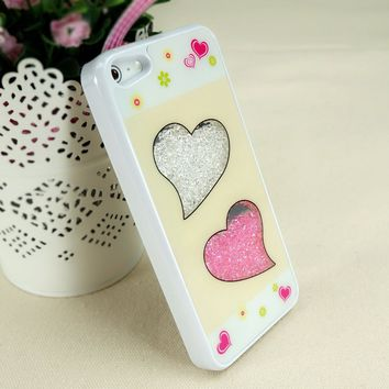 ZLYC Cute Double Hearts with Dancing Diamond Case for iPhone 5 (white frame)
