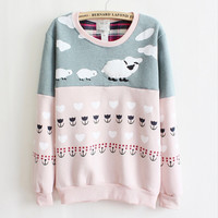 Cartoon sheep spell color sweater  T16970