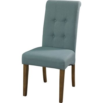 Townsend Blue Tufted Parson Chair Weathered Oak Legs (Set of 2)