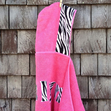 Girls Personalized Hooded Towel Pink with Zebra Fabric Beach Pool Bath Towel Girls Kids Children Gift