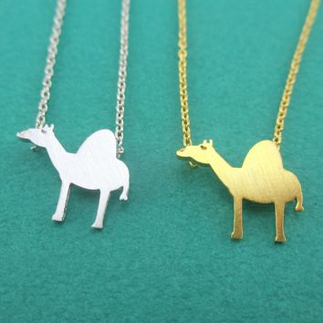Arabian Camel Silhouette Shaped Pendant Necklace in Silver or Gold