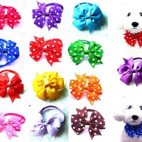 50pcs Dot Style Dog Bow Ties Pet Necktie Solid Dot Pet Bowtie Collar Pet Puppy Dog Ties Accessories pet Grooming Supplies12colou