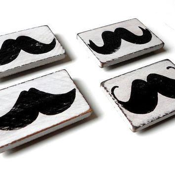 Wood Mustache Magnets Fridge Magnets by LeMaisonBelle