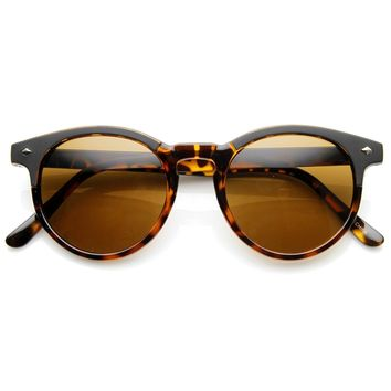 Dapper Vintage Inspired P3 Keyhole Round Horned Rim Sunglasses 8992