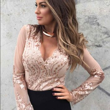 Mesh symmetrical pattern sequin sequined V-neck long-sleeved leotard
