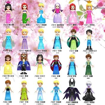 Legoing Princess Fairy Tale Princess Girl Maleficent Building Blocks Doll Figures Legoings Friends Mermaid Snow White Ice Queen