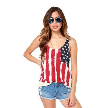 Summer Girl fashion  Tops American Flags Print T- Shirts for Women USA  Plus Size Tee Casual Loose Clothing Lady Sexy Shirt