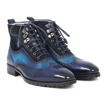 Paul Parkman Men's Wingtip Boots Blue Suede & Leather