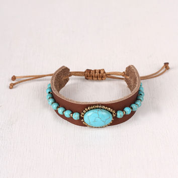 Turquoise and Leather Pull String Bracelet