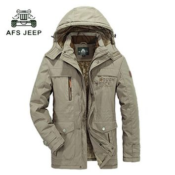 AFS JEEP 2017 Men's Parka Coat Winter Jacket Men Outerwear Brand Parka AFS JEEP Military Hoodies Thick Coats & Jackets 140cy