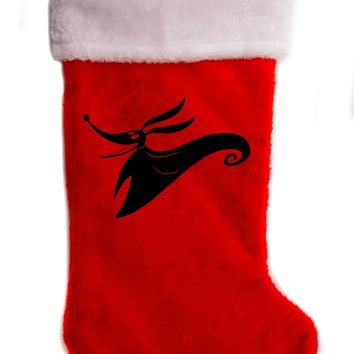 "Zero Nightmare Before Christmas Holiday Stocking 17"" Red/White Plush Hanging Sock Santa Stuffer Merry Gothmas"