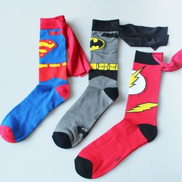 Batman Dark Knight gift Christmas batman superman Cosplay socks The Flash cartoon style DC Knee-High summer casual personality socks funny unisex student 2017 AT_71_6