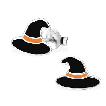 925 Sterling Silver Black, Orange Witch Hat Earrings Ear Stud