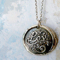 Sealed with Love. Wax Seal Necklace. Fine Silver Pendant. Sterling Silver Chain. Hand Made Wax Seal Jewelry.