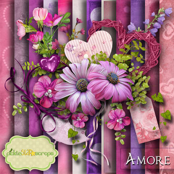 Romantic Kit - Digital Scrapbooking - Amore - Digital Scrapbook Kit - Printable Backgrounds - 12x12 inch Papers - FREE Quickpage Layout