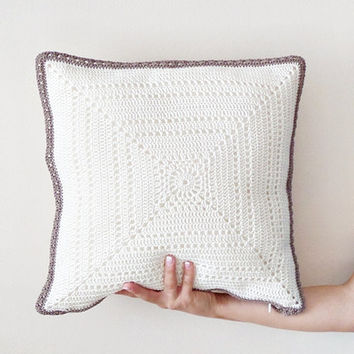 Ivory pillow cover, crochet pillowcase, throw pillow, modern geometric cushion, decorative pillow, cotton pillowcase, wedding gift