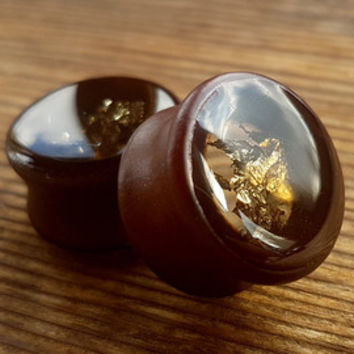 "Pair Gold Wooden Ear plugs,Wood tunnels,wood gauges resin plugs 0g,00g;8,10,12,14,16,18,20 mm;5/16,3/8,7/16,1/2,9/16,5/8,11/16,13/16 "" inch"