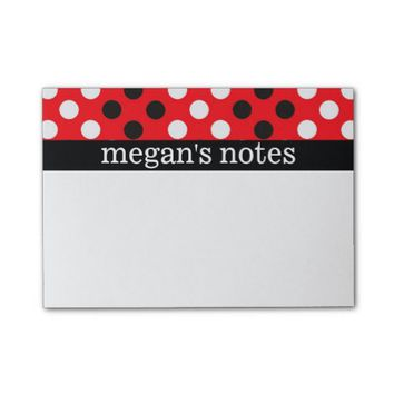 Red & Black Polka Dots Post-it® Notes