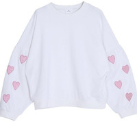 White Oversized Heart Pullover