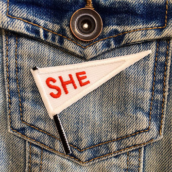 SHE iron on flag patch / feminist embroidery / feminism gift / smash the patriarchy