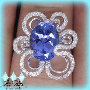 Retro Vintage Tanzanite Ring  2.9ct Oval  in a 14K White Gold Diamond Flower Halo Setting, 70's, Flower Power