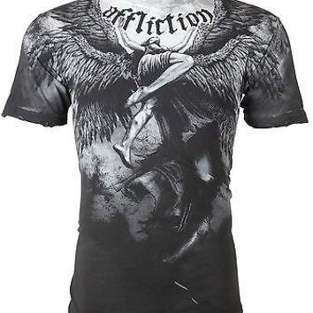 Licensed Official AFFLICTION Mens T-Shirt UPWARD Angel Wings GREY Tattoo Biker MMA UFC Jeans $63