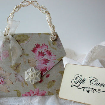 Vintage Paper Purse - Handmade Gift Card Holder - Pink & Green Purse - Shabby Chic Card Holder - Gift For Her - Paper Purse