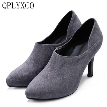 QPLYXCO 2017 New Sale Big size 34-48 Genuine Leather shoes Lady thin high hell Platform party wedding High quality shoes 477-6