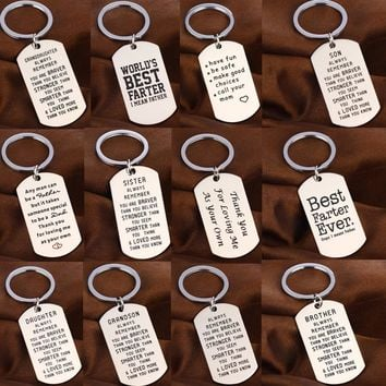 Family Love Keychain Son Daughter Sister Brother Mom Fathers Key Chain Gifts Stainless Steel Keyring Dad Mothers Friend Key Ring