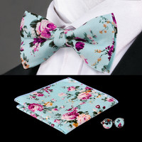 New Arrival Colorful Hank Fashion Bow tie Handkerchief Cuff links Sets