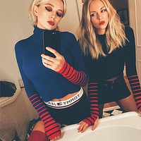 Women Fashion Multicolor Stripe Long Sleeve Show Thin Knit Bodycon Turtleneck Sweater Crop Tops