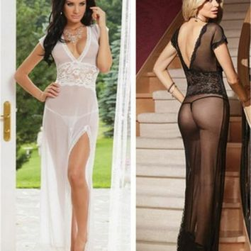 New Womens Solid Color Lace Deep V-Neck See Through Pajamas /Gauze Sleepwear