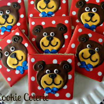 Bear Cookies Decorated Cookies Birthday Party Cookie Favors One Dozen
