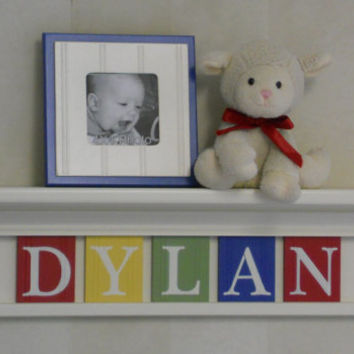 "Baby Boy Nursery Decor Custom 24"" Linen (Off White) Shelf with 5 Plaques Painted Red, Yellow, Green and Blue - DYLAN"