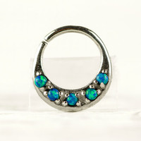 Septum Ring Nose Ring Septum Jewelry Body Green Blue Opal Stone Piercing  Sterling Silver Indian Style 14g 16g - SE027R SS OP36