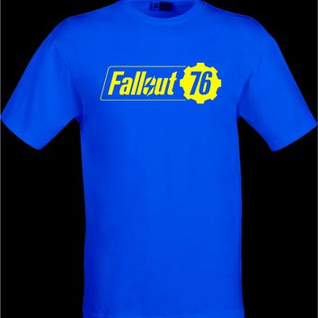 Fallout 76 Tribute logo blue cog shirt item loot game gift present idea geek