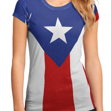 Puerto Rico Flag AOP Juniors Petite Sub Tee Dual Sided All Over Print
